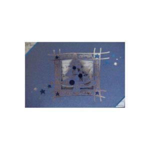 Weihnachtskarte, irisierend blau mit Stanzung Tannenbaum graues Einlegeblatt Klappkarte