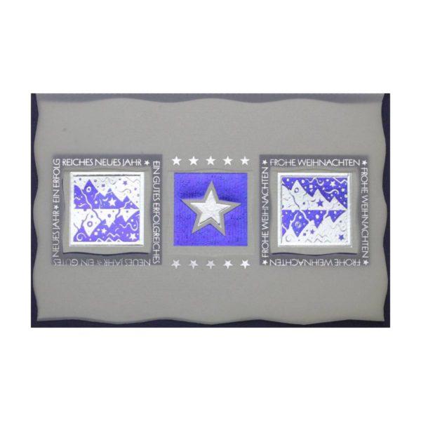 Weihnachtskarte, grau mit ausgestanztem Transprint, Sterne und Tannenbaum, silberne und blaue Folienprägung Klappkarte