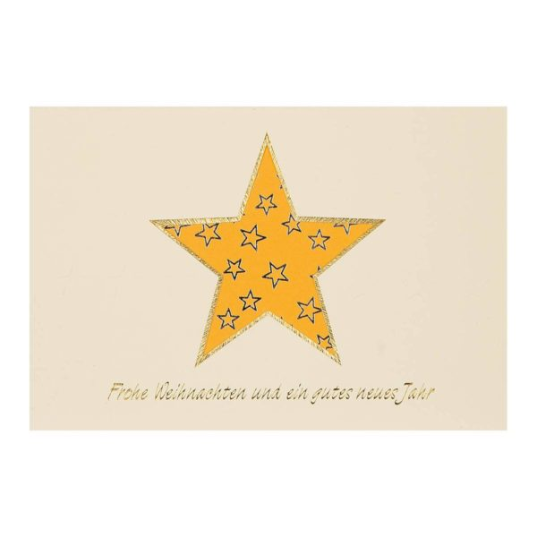 """Weihnachtskarte, mit Ausstanzung Stern mit Text """"Frohe Weihnachten und ein gutes neues Jahr"""", oranges Einlegeblatt Klappkarte"""
