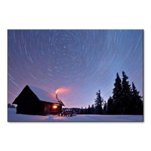 """Weihnachtsklappkarte, hochwertiger Offsetdruck mit UV-Lackierung, """"Hütte am Waldrand"""""""