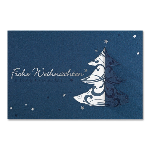 Weihnachtsklappkarte, mit aufwendiger Stanzung, Designkarton in blau, Folienprägung silber, inkl. Einlegeblatt mit Ornament