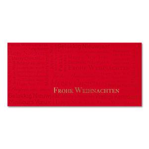 Weihnachtskarte, roter Karton, Folienprägung gold und rot , inkl. Einlegeblatt