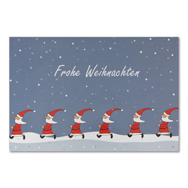 """Weihnachtskarte, Offsetdruck, """"lustige Weihnachtsmänner"""""""