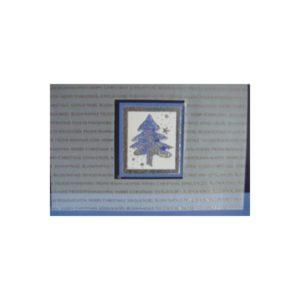 Weihnachtskarte, grau, blau mit ausgestanztem Transprint, mit Tannenbaum und Schrift, silberne und goldene FolienprägungKlappkarte