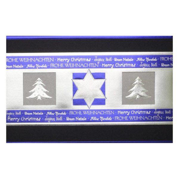 Weihnachtskarte, dunkelblau, Stanzung, Sterne und Tannenbäume, silberne Folienprägung Klappkarte