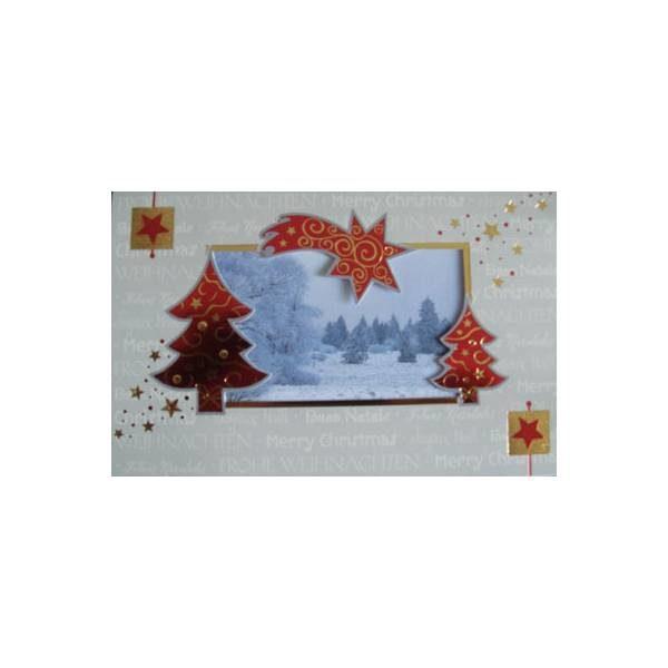 Weihnachtskarte, grau, Stanzung, Tannenbaum und Sternschnuppe weisses Einlegebl. mit Winterlandschaft, goldene und rote Folienprägung Klappkarte