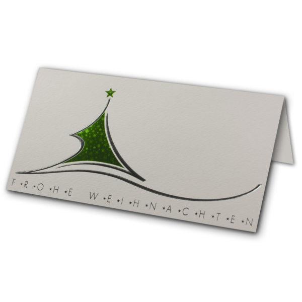 Weihnachtsklappkarte, Designkarton in creme, Folienprägung silber und aufwendiger Grünsternfolienprägung