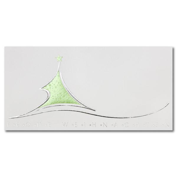 Weihnachtsklappkarte, Designkarton in creme, Folienprägung silber und aufwendiger Grünsternfolienprägung,