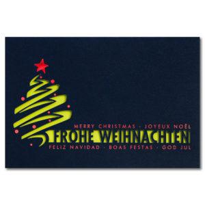 Weihnachtsklappkarte, mit Laserschnitt, Designkarton in dunkelblau, Folienprägung rot, inkl. Einlegeblatt in grün