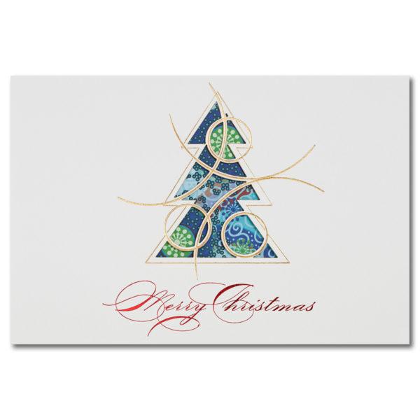 Weihnachtsklappkarte, mit Laserschnitt, Designkarton in creme, Folienprägung gold und rot, inkl. beducktem Einlegeblatt