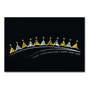 Weihnachtskarte, Christbaumkugeln und Sternen, goldene Folienprägung Klappkarte