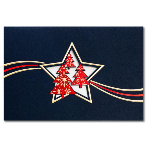 Weihnachtsklappkarte, mit Laserschnitt, Designkarton in dunkelblau, Folienprägung gold und rot, inkl. Einlegeblatt