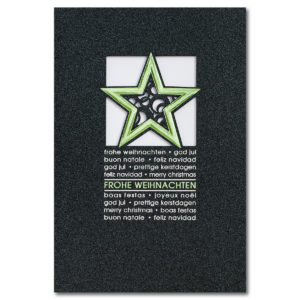 Weihnachtsklappkarte, mit Laserschnitt, Designkarton irisierend und dunkelgrau , Folienprägung silber und grün, inkl. Einlegeblatt