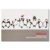 """Weihnachtsklappkarte, hochwertiger Offsetdruck """"tanzende Pinguine"""", Folienprägung rot"""