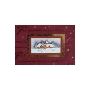 Weihnachtskarte, rot mit Bild von einer Stadt, goldene und rote FolienprägungKlappkarte