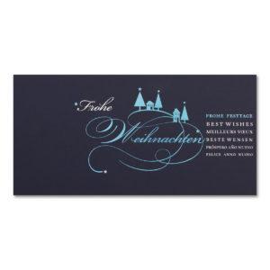 Weihnachtsklappkarte, Designkarton in dunkelblau, Folienprägung silber und hellblau, inkl. Einlegeblatt irisierend einfach