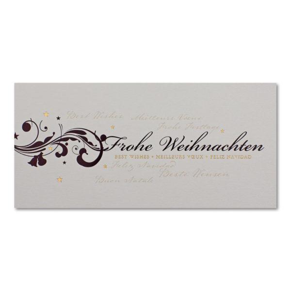 Weihnachtsklappkarte, Designkarton irisierend und creme, Folienprägung gold und schwarz, mit schwarzem Ornament,