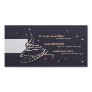 Weihnachtsklappkarte, Designkarton in dunkelblau, Folienprägung silber und gold, mit Logoausschnitt und Geschäftstext, inkl. Einlegeblatt irisierend einfach