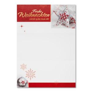 Weihnachtsbrief, Weihnachtsbäume und rote Sterne, Folienprägung rot, mit Text