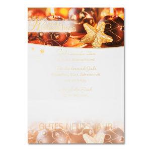 Weihnachtsbrief, Weihnachtsstern mit Karos, Folienprägung gold, ohne Text