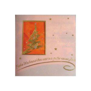 Weihnachtskarte orange, Quadratisch mit Transprint u. Stanzung, mit Tannenbaum, silberne und goldene Folienprägung Klappkarte