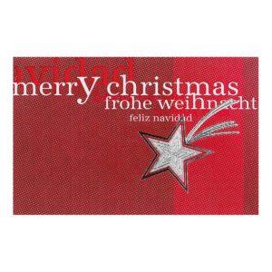 Weihnachtskarte, rot mit Sternem, silberne Folienprägung Klappkarte