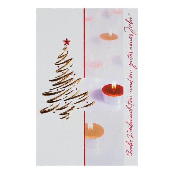 """Weihnachtskarte, """"Teelichter"""", mit Schrift """"Frohe Weihnachten und ein gutes neues Jahr"""", goldene und rote Folienprägung Klappkarte"""
