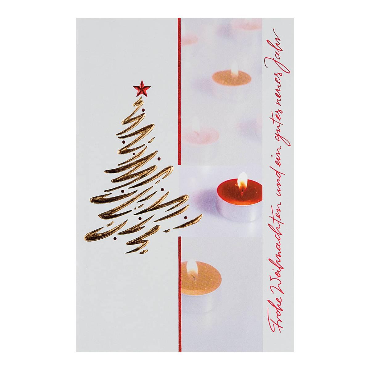 Frohe Weihnachten Schrift.Weihnachtskarte Teelichter Mit Schrift Frohe Weihnachten Und Ein Gutes Neues Jahr Goldene Und Rote Folienpragung Klappkarte