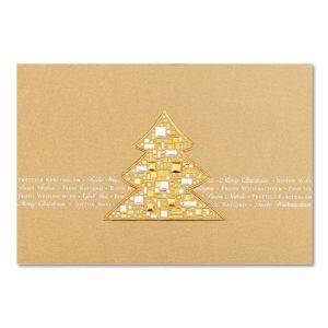 Weihnachtskarte, goldener Karton, Folienprägung kupfer und silber matt, Einlegeblatt creme