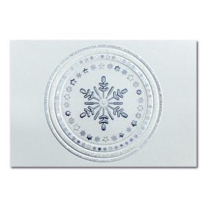 Weihnachtskarte, weißer Karton, Folienprägung eisblau und silber matt, Blindprägung