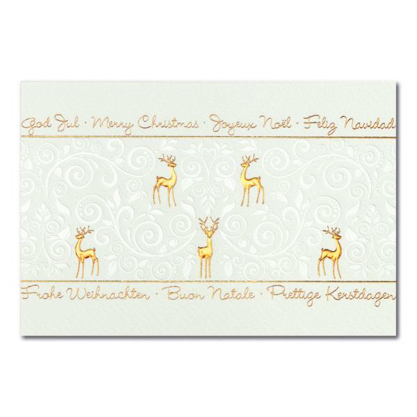 Weihnachtskarte, cremfarbener Karton, Folienprägung kupfer und transparent, Tiefprägung