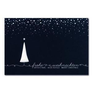 Weihnachtskarte, dunkelblauer Karton, Folienprägung silber