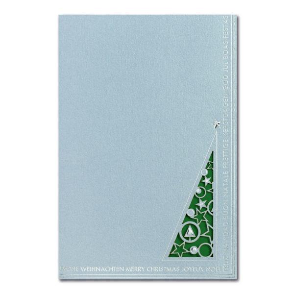 Weihnachtskarte, Laserkarte, irisierender, hellgrauer Karton, Folienprägung silber, farbiges Einlegeblatt