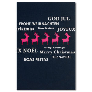 Weihnachtskarte, Laserkarte, dunkelblauer Karton, Folienprägung silber, farbiges Einlegeblatt weiß
