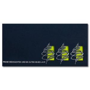 Weihnachtskarte, Laserkarte, dunkelblauer Karton, Folienprägung silber, farbiges Einlegeblatt