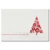 Weihnachtskarte, cremefarbener Karton, Folienprägung silber und rot