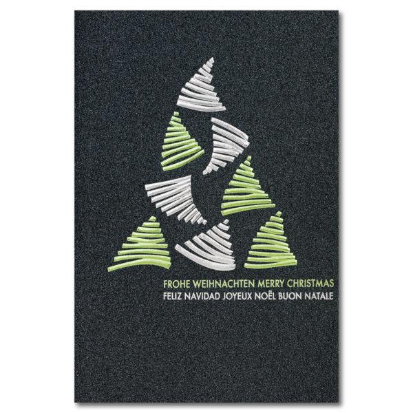 Weihnachtskarte, irisierender, dunkelgrauer Karton, Folienprägung silber und grün, Einlegeblatt weiß
