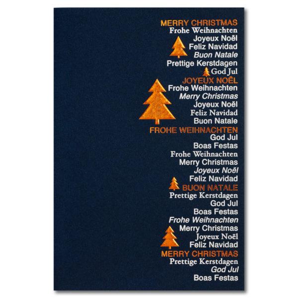 Weihnachtskarte, dunkelblauer Karton, Folienprägung silber matt und Kupferholographiefolie, Relieffolienprägung, Einlegeblatt weiß