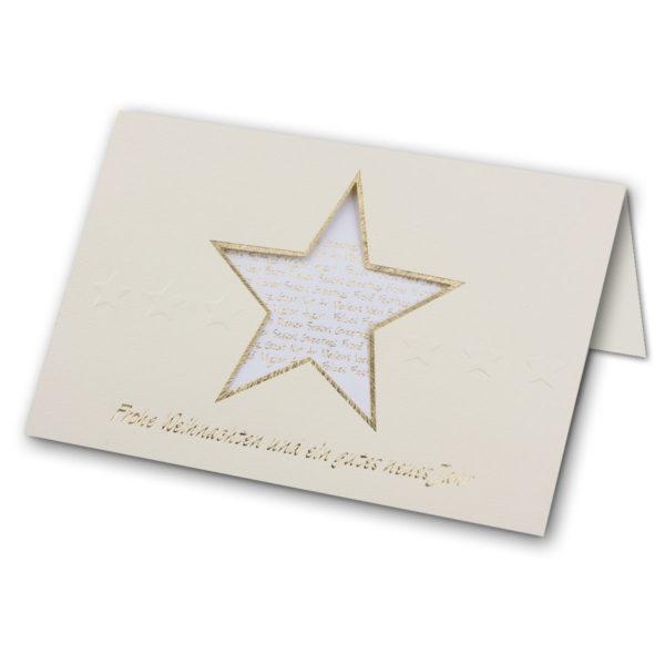 Weihnachtskarte, mit Ausstanzung Stern, Einlegeblatt, Klappkarte