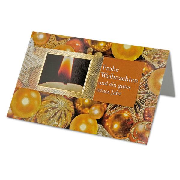 """Weihnachtskarte, Christbaumkugeln mit Text """"Frohe Weihnachten und ein gutes neues Jahr"""", goldene Folienprägung, Klappkarte"""