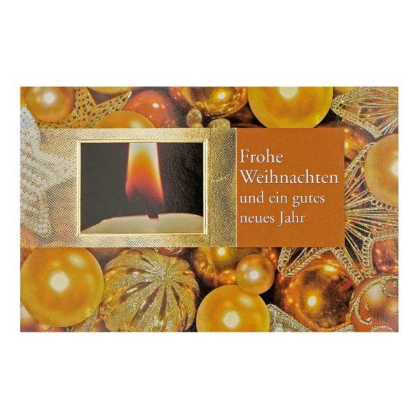 """Weihnachtskarte, Christbaumkugeln mit Text """"Frohe Weihnachten und ein gutes neues Jahr"""", goldene Folienprägung Klappkarte"""