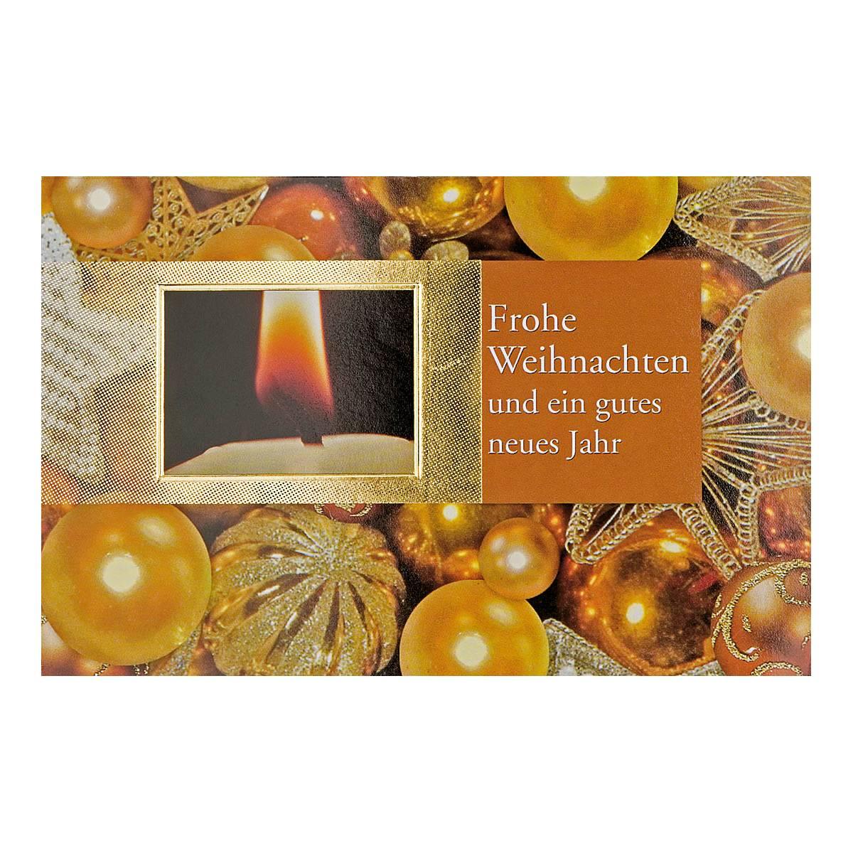 Christbaumkugeln Outlet.Weihnachtskarte Christbaumkugeln Mit Text Frohe Weihnachten Und Ein Gutes Neues Jahr Goldene Folienpragung Klappkarte