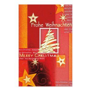 Weihnachtskarte, rot, mit Tannenbaum und Sternen, goldene, rote und orangene Folienprägung Klappkarte