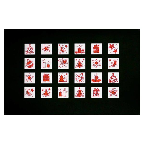 Weihnachtskarte auf Spiegelglanzkarton schwarz mit weihnachtlichen Motiven in Silber- und Rotfolienprägung Klappkarte