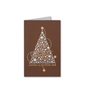 """Weihnachtskarte, brauner Karton, annenbaum """"Frohe Weihnachten und ein gutes neues Jahr"""", silberne und kupferne Folienprägung Klappkarte"""