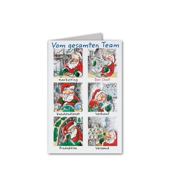 """Weihnachtskarte """"Teamkarte"""" mit Weihnachtsmann Klappkarte"""