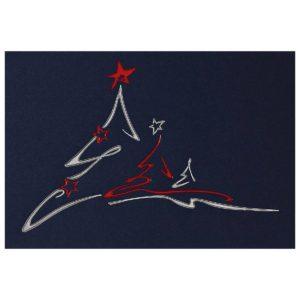 Weihnachtskarte blauer mit roter und silberner Prägung und weissem Einlegeblatt Klappkarte