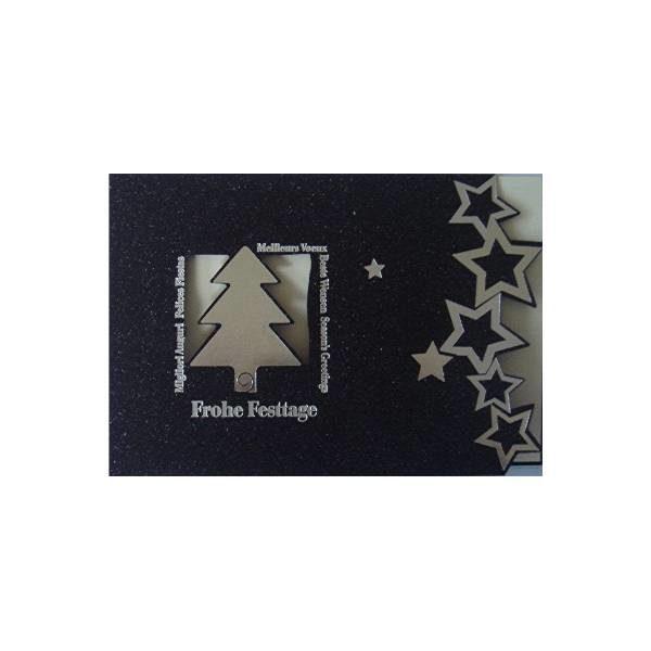Weihnachtskarte, schwarz, mit silbernem ausgestanztem Tannenbaum und Sternen, Einlegeblatt chamois Klappkarte