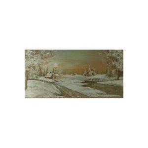 Weihnachtskarte, mit Winterlandschaft, goldene Folienprägung Klappkarte