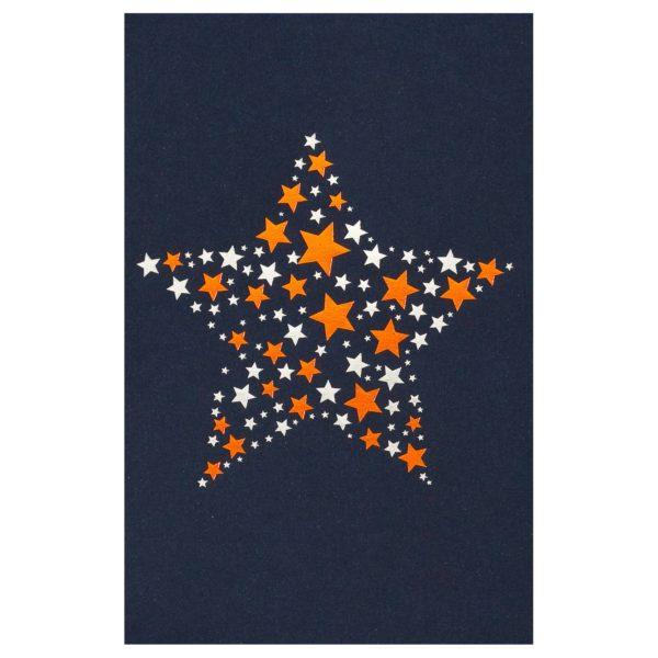Weihnachtskarte, dunkelblauer Karton, Einlegeblatt weiß, silberne und kupferne Folienprägung Klappkarte